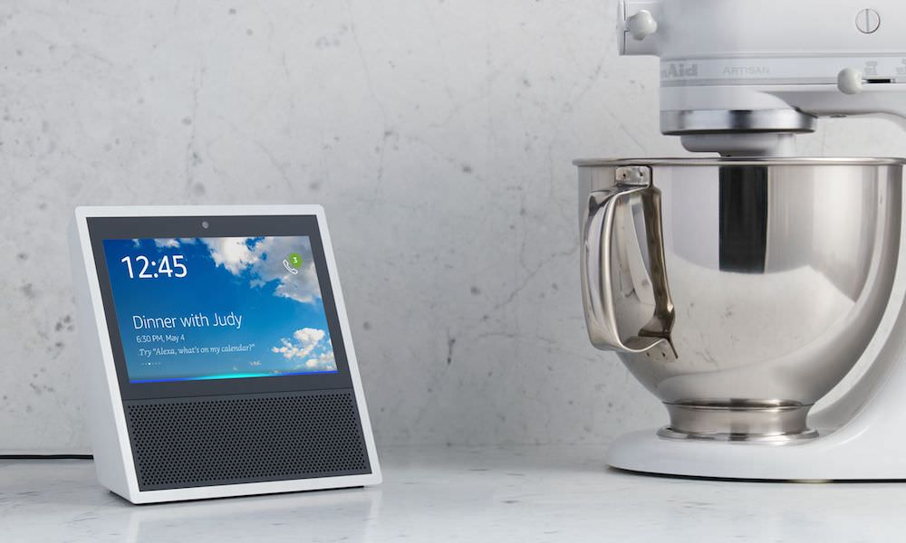 White Echo Show on Kitchen Counter