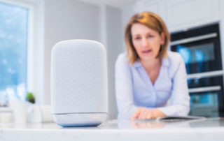 Woman Using Voice Technology