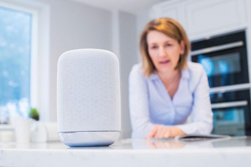 Woman Using Voice Technology